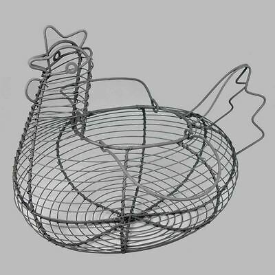 Rustic Metal Wire Chicken Hen Egg Easter Basket With Handles Home Kitchen Gift