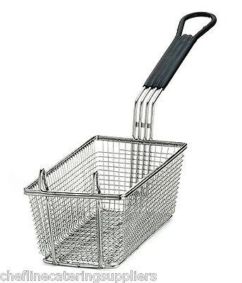 Heavy Duty Rectangular Professional Fry Basket, with Hook,Black Handle Deep Fry