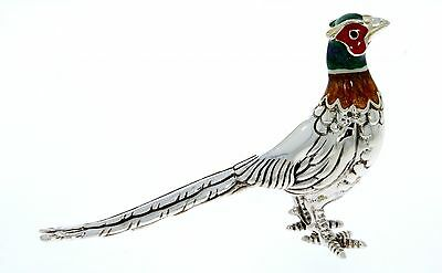 Sterling Silver & Enamel Small Pheasant by Saturno