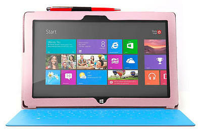 Folding Pink Stand Case For Microsoft Surface RT Plus 2-Way Red Pen & Stylus