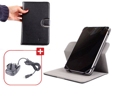 "Black Executive 7"" Tablet Cover/Case With Rotating Stand PLUS Micro USB Charger"