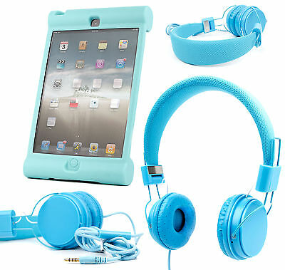 Premium Kids / Child Headphones and Shell Case for Apple iPad Mini in Blue