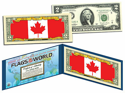 CANADA - Flags of the World Genuine Legal Tender U.S. $2 Bill Currency