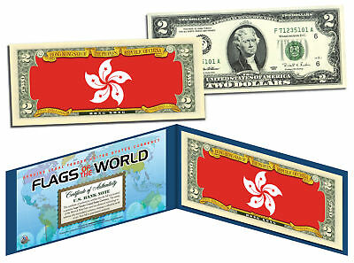 HONG KONG - Flags of the World Genuine Legal Tender U.S. $2 Bill Currency