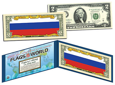 RUSSIA - Flags of the World Genuine Legal Tender U.S. $2 Bill Currency