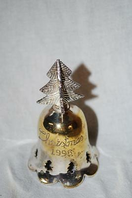 International Silver Co 1995 Silverplated Engraved Christmas Bell Handmade W/Box