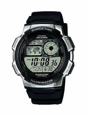 Casio Mens Digital Stopwatch Water Resistant World Time Watch AE-1000W-1A2VEF