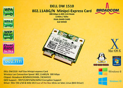 DELL DW1510 802.11ABG/N Broadcom BCM4322 BCM94322HM8L BCM94322 mPCIe Hackintosh
