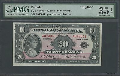 "CANADA #BC-9b 1935 $20 SMALL SEAL ""ENGLISH"" OSBORNE/TOWERS PMG 35 EPQ WL9982"