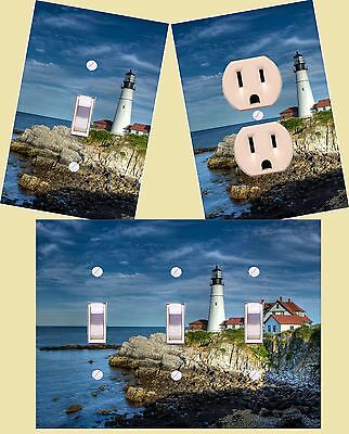 Light house light switch plate outlet and wall plate covers custom room decor