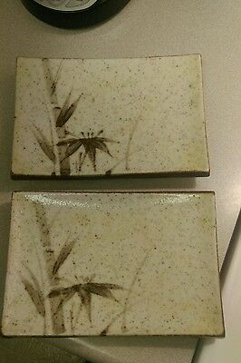 Vintage Pair of Painted Glazed Pottery/Ceramic Bamboo Sushi Plates/Platters