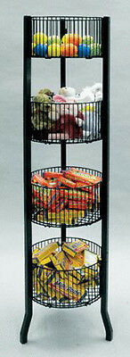 "Impulse Dump Bin Sale  Basket 4-Tier 12"" Diameter Wire Floor Display Black NEW"