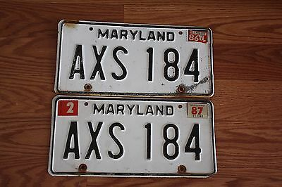 Maryland License Plate Tags Pair 1986 1987 AXS 184 Vintage