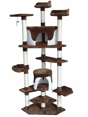 FoxHunter Kitten Cat Tree Scratching Post Sisal Toy Activity Centre Brown CAT092