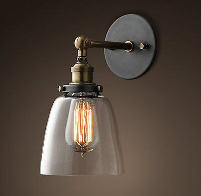 Vintage Industrial Ceiling Wall Sconce Modern Glass Shade Edison Lamp Light Bulb