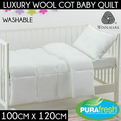 New 100% AUSTRALIAN Washable Wool Cot Quilt Baby Duvet w/ Cotton Japara Cover