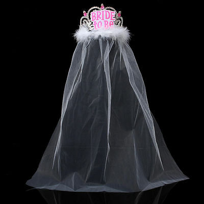 Bride to Be Tiara White Veil Hen Night Party Bridal Shower Decor Accessory Hot