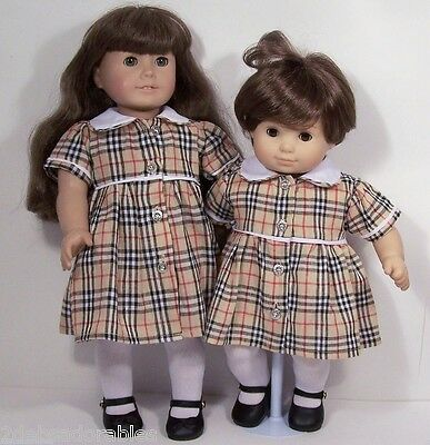 Image result for blue pink yellow plaid doll dress