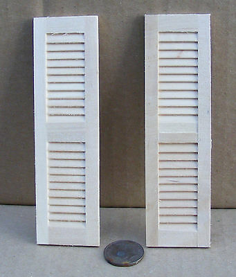 1:12 Scale Pair Of Wooden Louvre Shutters Dolls House Miniature DIY Accessory