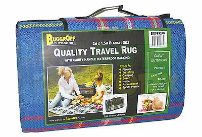 LARGE QUALITY PICNIC / TRAVEL RUG 2M x 1.5M WATERPROOF BACKING BLUE TARTAN NEW!