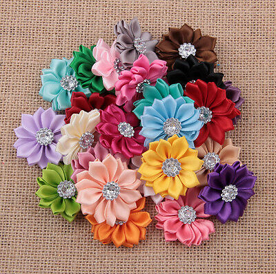 DIY 10-50PCS Satin Ribbon Flower with Crystal Bead Appliques/craft/Wedding decor