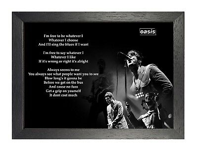Oasis Whatever English Rock Band Poster Gallagher Music Lyrics Black and White