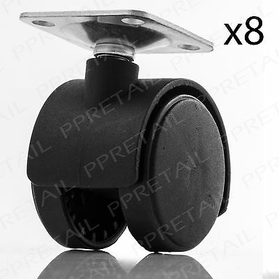 8x SMALL 40MM CASTOR WHEELS PACK Swivel Strong Trolley Cart Dolly Chair/Bed/Desk