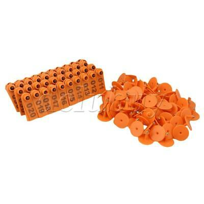 Orange 1-100 Number Plastic Livestock Ear Tag For Goat Sheep Pig With 100 Sets
