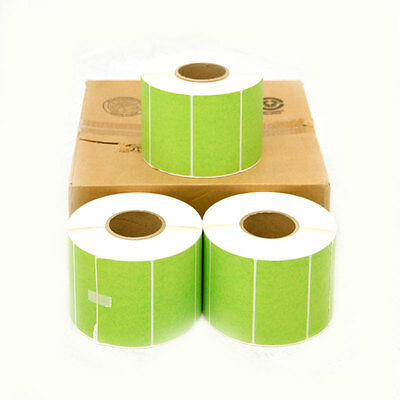 "NEW Lot of 3 DRI 82957P-GRN 4"" x 3"" Fluorescent Green Thermal Transfer Labels"