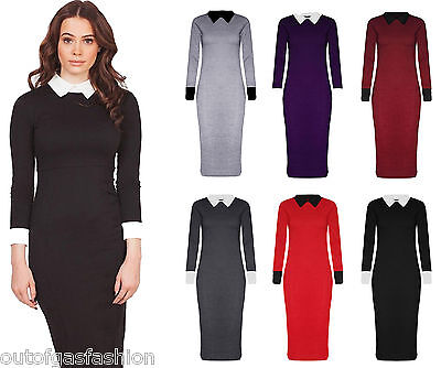 dbcde9e567 New Womens Ladies Contrast Long Sleeve Peter Pan Collar Bodycon Midi Dress