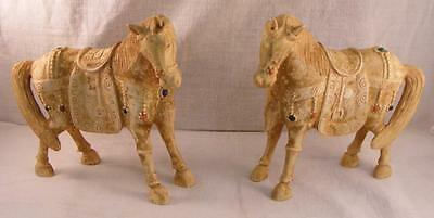 """2 Antique Chinese Carved Jeweled Horses Qing Dynasty Amazing Details!  5""""x 51/4"""""""