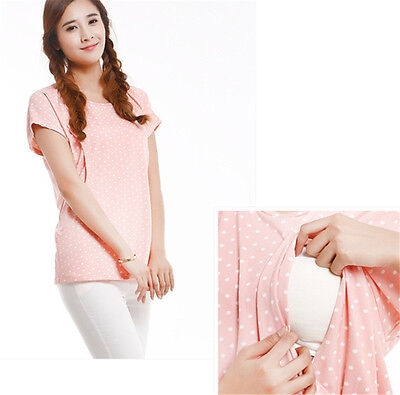 Summer Breastfeeding Short-sleeve Nursing Dot Clothes Pregnant Tops Mom Gift