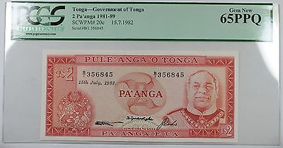 1981-89 Government of Tonga 2 Pa'anga Note SCWPM# 20c PCGS 65 PPQ Gem New
