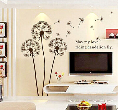 DIY Dandelion Flower Vinyl  Wall Sticker Decal Mural Art Home Living Room Decor