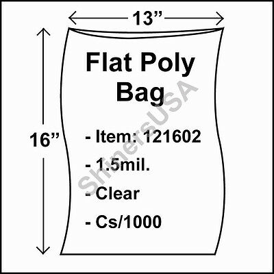 1000 1.5-Mil 13x16 Clear Poly Bag Open Top Lay Flat Packaging 121602