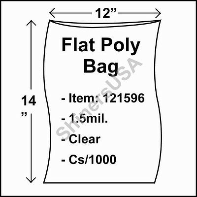 1000 1.5-Mil 12x14 Clear Poly Bag Open Top Lay Flat Packaging 121596