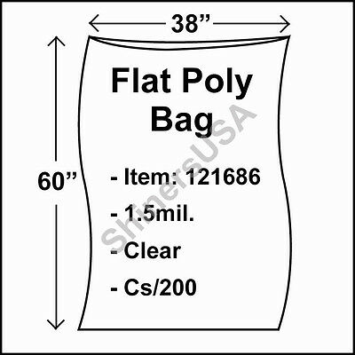 200 1.5-Mil 38x60 Clear Poly Bag Open Top Lay Flat Packaging 121686