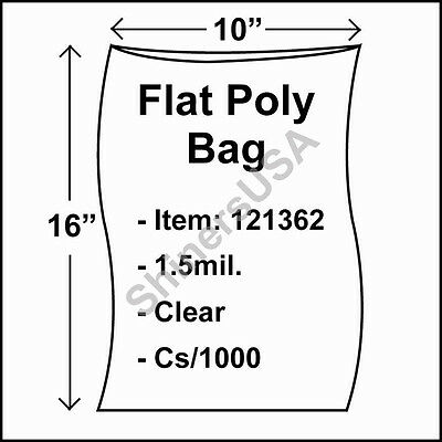 1000 1.5-Mil 10x16 Clear Poly Bag Open Top Lay Flat Packaging 121362