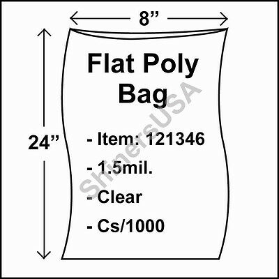 1000 1.5-Mil 8x24 Clear Poly Bag Open Top Lay Flat Long Packaging 121346