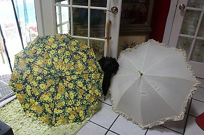Lot Of 3 Vintage Umbrellas  ~ 1 Merle Norman Cream Color, And 2 More