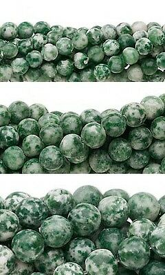 Lot of 50 Round Green & White Tree Agate Natural Gemstone Beads Small - Big