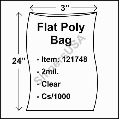 1000 2-Mil 3x24 Clear Poly Bag Open Top Lay Flat Long Packaging 121748