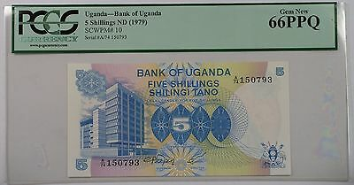 (1979) Bank of Uganda 5 Schillings Note SCWPM# 10 PCGS 66 PPQ Gem New (A)