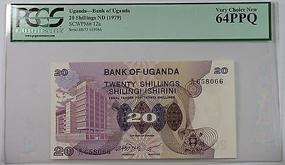 (1979) Bank of Uganda 20 Schillings Note SCWPM# 12a PCGS 64 PPQ Very Choice New