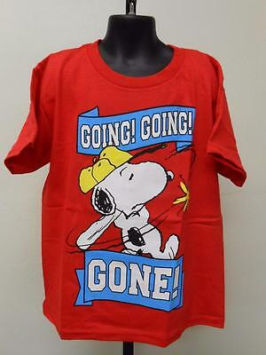 """NEW PEANUTS SNOOPY """"going going gone"""" Youth Kids M MEDIUM size 8 T-SHIRT"""