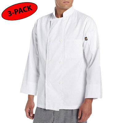 3 PACK Dickies Chef Coat 8 button Long Sleeve Chef Jacket DC118