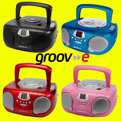 Groov-e GVPS713 Boombox Portable CDPlayer, Radio & Aux Black Red Blue Pink + AUX