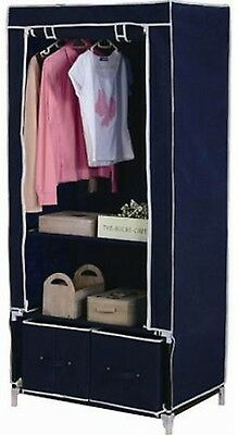 DOUBLE CANVAS WARDROBE HANGING CLOTHES RAIL 2  x DRAWER STORAGE SHELVE BLUE