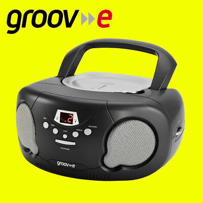 Groov-e GVPS713 Black Portable Boombox Audio CDPlayer Radio Aux In FREE AUX LEAD