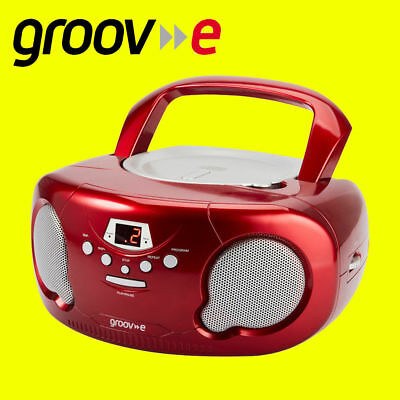 Groov-e GVPS713 RED Portable Boombox Kids CD Player Radio Aux-In FREE AUX LEAD